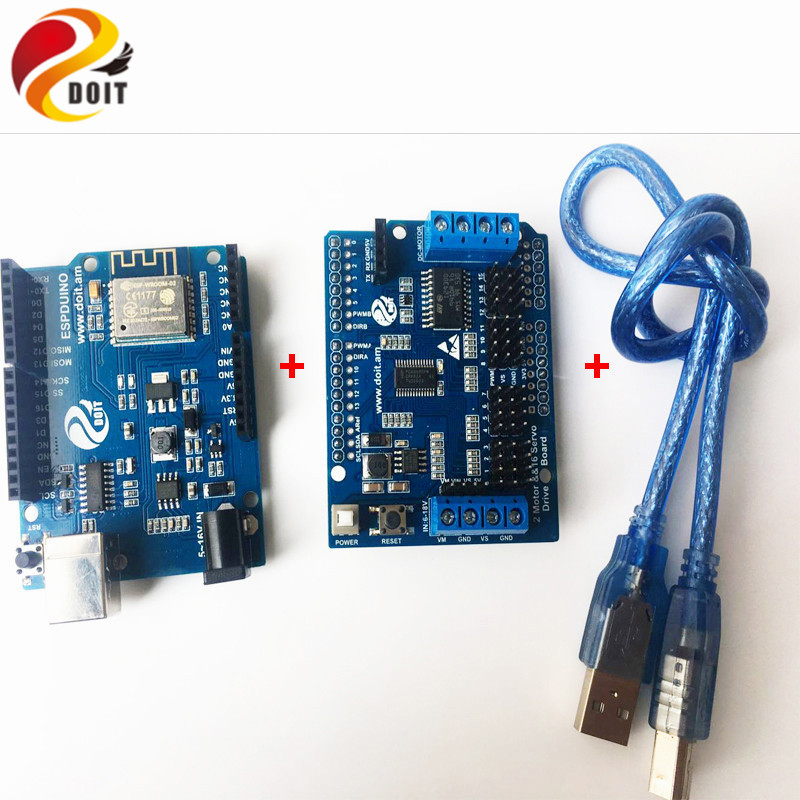 DOIT ESPduino Development Board Kit Compatible with WiFi for Arduino for Control 2-way Motor & 16-way Servo UNO R3 doit arduino ide for esp32 module wifi and bluetooth development board ethernet internet wireless transceiver control board