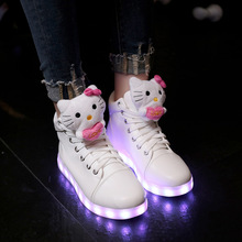 Free Shipping Men Women 7 Colors High Top LED Shoes for Adults Glowing Light Up Flat Shoes Hello Kitty Luminous USB Recharging