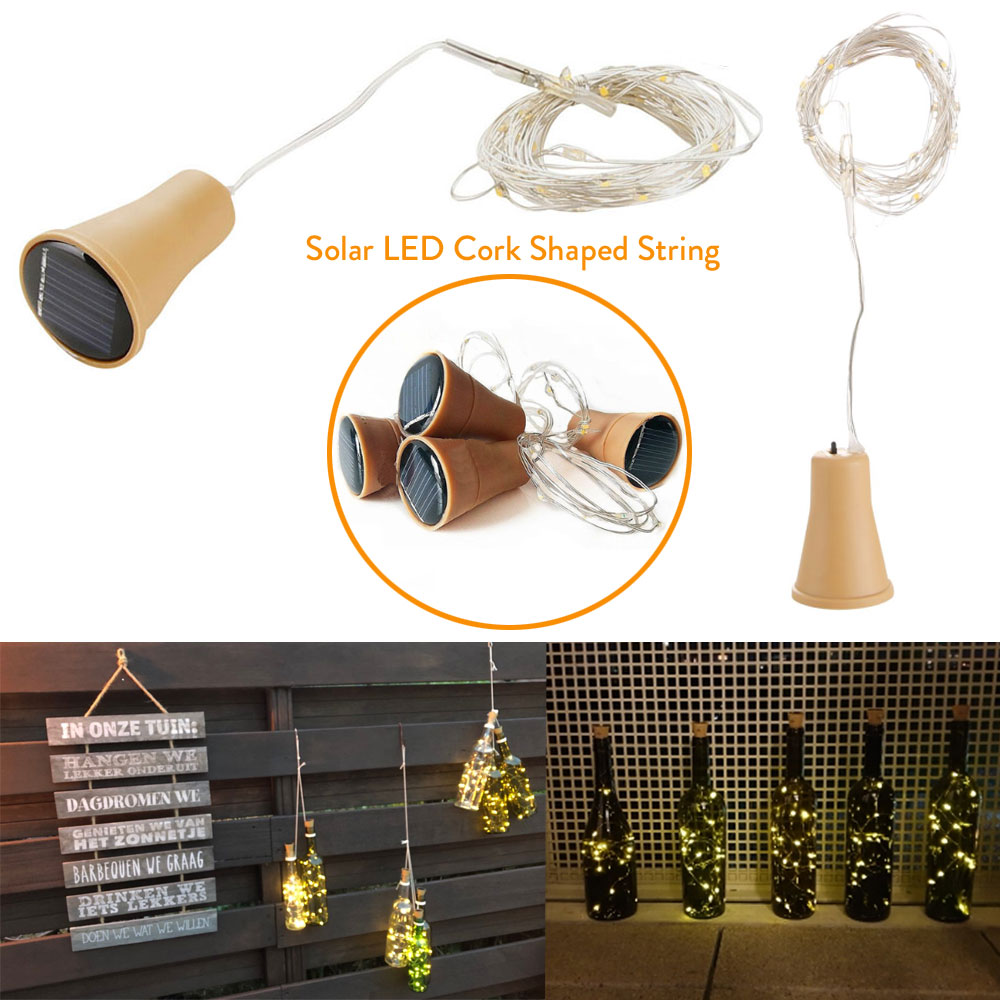 1.5M 15LEDs Solar Cork Wine Bottle Stopper Copper Wire String Lights Fairy Lamps Outdoor Party Patio Wedding Decoration