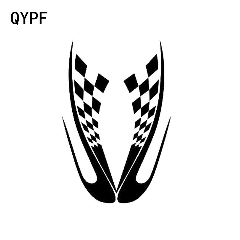 QYPF 9cm*13.7cm Creative Flag Hood Decals Vinyl Sport Personalized Car Stickers Black Silver S2-0601