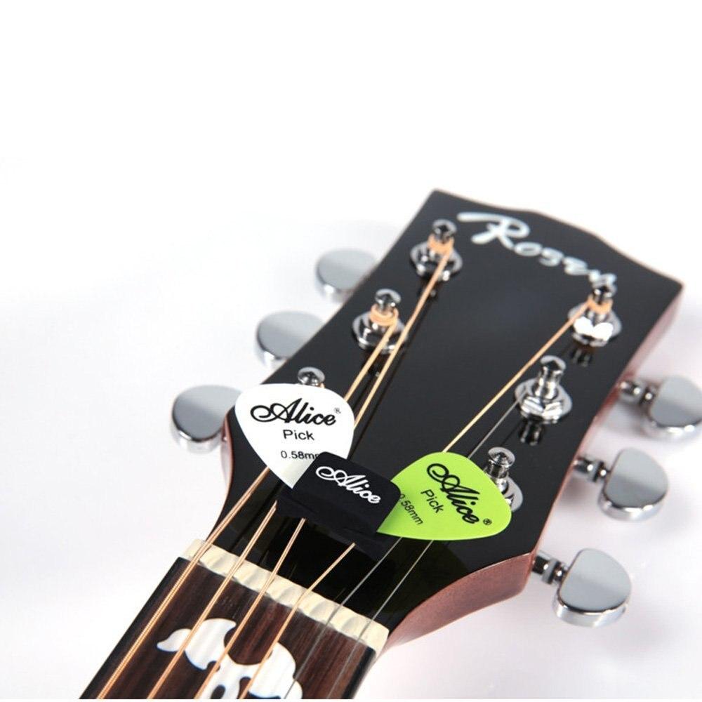 Music-S Alice 5pcs Black Rubber Pick Holder Fix on Headstock for Guitar Bass Ukelele