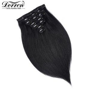 Image 5 - דורין 10 12 14 16 מלזיה קצר כפול ערב קליפ שיער טבעי הרחבות עבה 100% ישר שיער קליפ ב תוספות 7 pieces