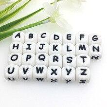 Kovict Cuentas de silicona en forma de letras para mordedores de bebés, abalorios de alfabeto masticable para collar de dentición personalizado, 12mm, 500 unidades