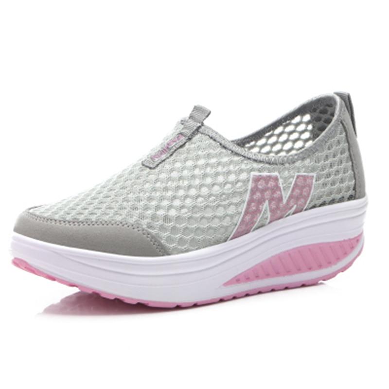 Deporte Nuevas púrpura Mujer Negro Casual Plataforma Las Más rosado Damas Zapatillas Para De Zapatos en Mujeres La Planos 2019 Enredaderas Tamaño Slip gris BXf5zqw