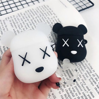 Bluetooth Earphone Case for Airpods cute Accessories Protective Cover Bag Anti-lost Strap Cartoon Silicone bear unique luxury
