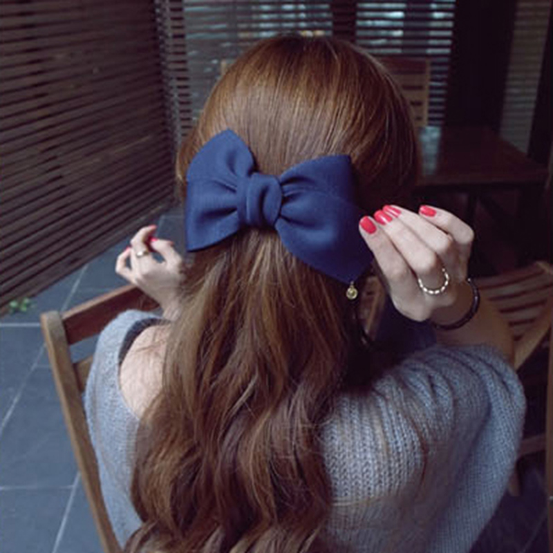 2017 New Fashion Arrival Big Solid Cloth Bows Hair Clips Hairpins Hair Accessories for Women Girl Wedding Hair Jewelry   Headwear