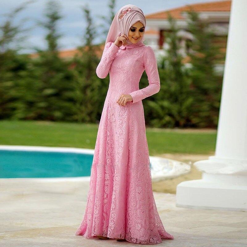 Durazno Rosa de Encaje Hijab Musulmán Del Vestido de Noche Con ...