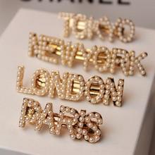 Pearl Hairgrip Elegant Women Hair Clips for Girl Princess City Name Letter Pin Barrette Hairclip Headdress Headwear hair pins