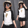 2017 New Autumn Kids Girls Shirt Clothing Children T Shirt Cartoon Bear Pattern Kids Cotton Long Sleeve Pullover Teenage Girl
