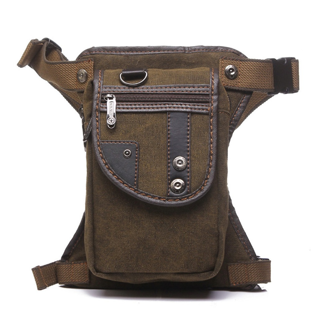 Uomini Canvas / Nylon Drop Gamba Fanny Bag Cintura Hip Bum Coscia Pouch Moto Trekking Crossbody Messenger Shoulder Pack Vita Borse
