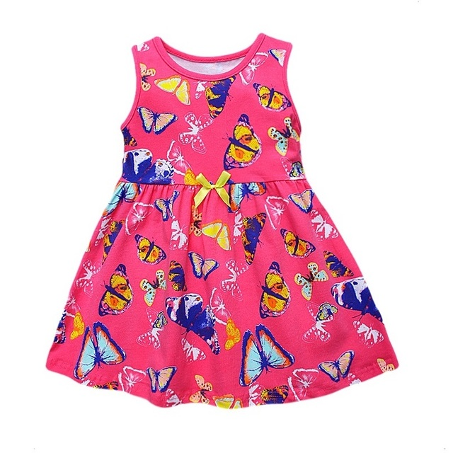 2017 New Brand Little Maven 1-6 Years Girls Summer Dress 100% Cotton Sleeveless Casual Dresses Children's Clothing KF171