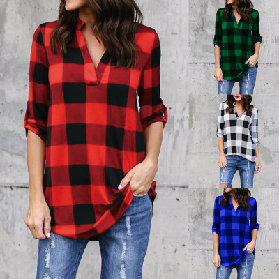 2018 Spring Autumn Plaid Blouse Womens Tops And Blouses Long Sleeve V-neck Shirts Plus Size Loose Casual Blusas