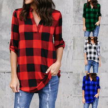 2018 Spring Autumn Plaid Blouse Womens Tops and Blouses Long