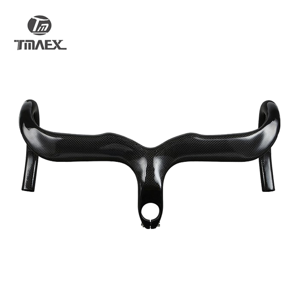 No logo Road Carbon Handlebar Bicycle Handlebars Road Bike Handlebar Carbon Integrated Handlebar With Stem Bent Bar 28.6mm