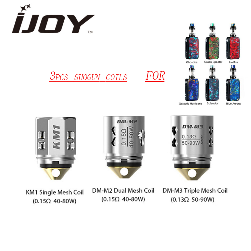 3pcs/lot Original IJOY Replacement Coil 0.15ohm KM1/0.13ohm DM-M3/0.15ohm DM-M2 Coil For Ijoy Shogun Univ/ KATANA Tank Vape Coil