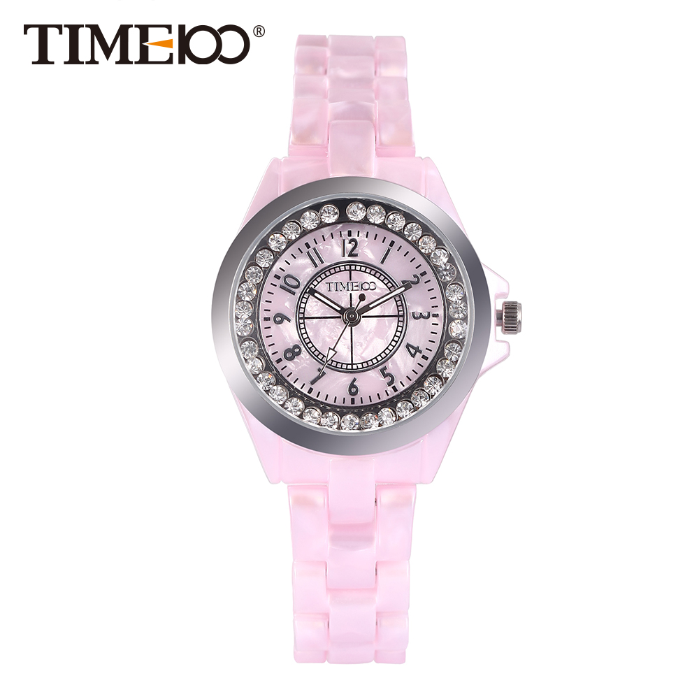 New Time100 Elegance Watches Women Quartz Watches Simulated Pink Ceramics Casual Ladies Wrist Watch Colck relogio feminino time100 unique ceramic women s watches three dimensional hummingbird pattern ladies quartz watches relogio feminino clock