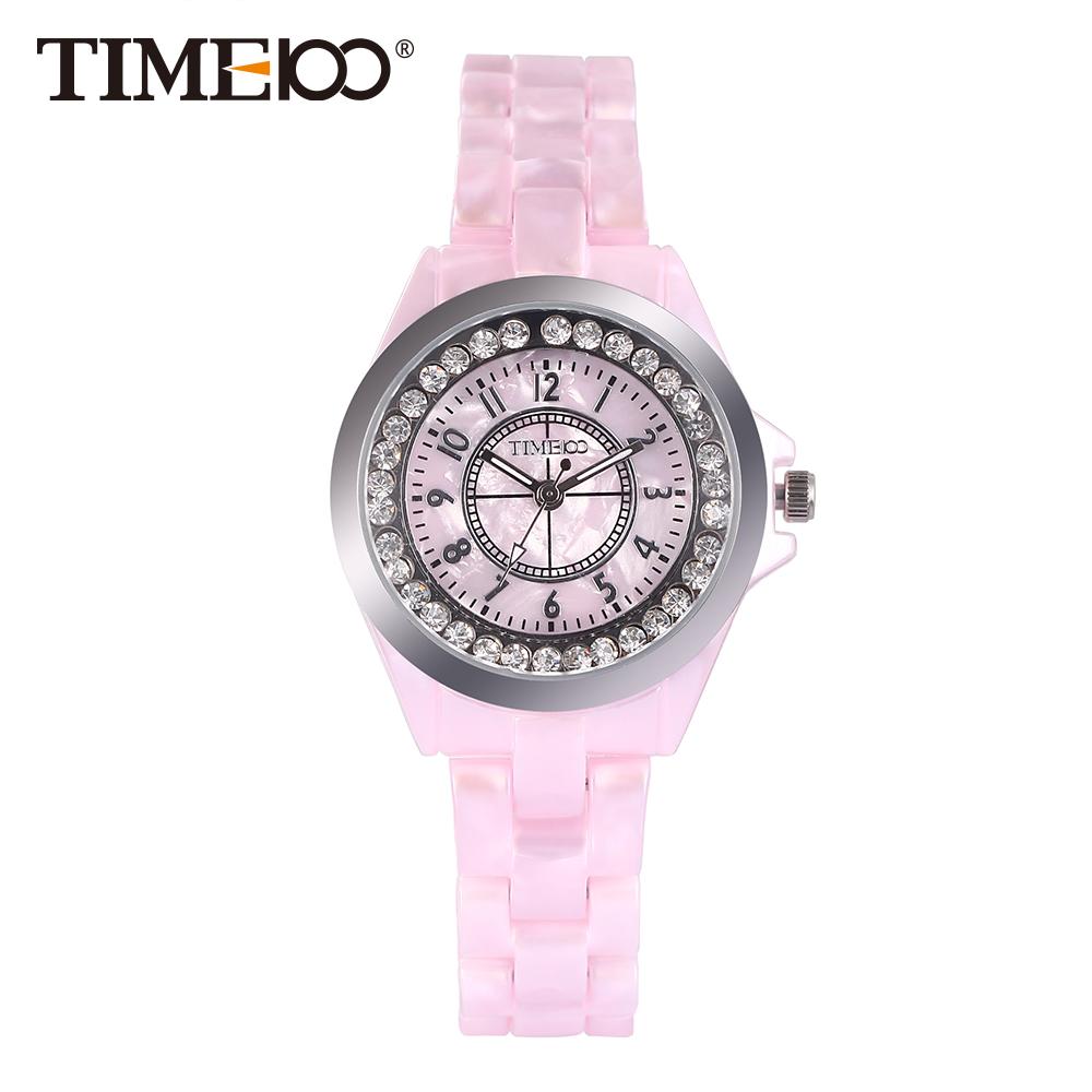 nueva time relojes elegancia simulado pink cermica casual seoras reloj de pulsera de cuarzo de las