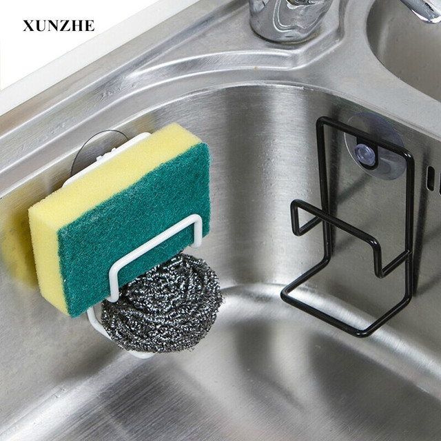 XUNZHE Racks Sponge Hook Metal Wall Mounted Type Kitchen Sink Sponge Drain  Rack Multi Purpose Bathroom