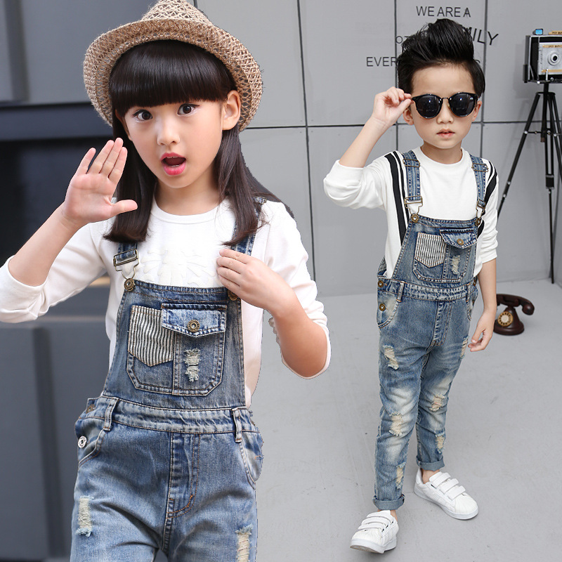 Spring Autumn Unisex BB Dungarees Girls Boys Denim Overalls For Teenagers Popular Style Ripped Jeans Casual High Waist Bib Pants plus size pants the spring new jeans pants suspenders ladies denim trousers elastic braces bib overalls for women dungarees