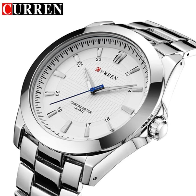 relogio CURREN Mens Watches Top Brand Luxury Male Business Clocks Sport Military Clock Steel Strap Quartz Men Watch Gift 8109
