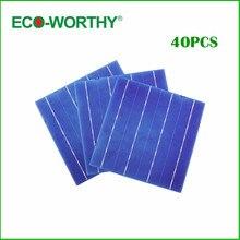 40pcs 6x6 Sunpower Solar Cells 4 3W pc 156x156mm Polycrystalline Silicon Solar Cell for DIY 150W