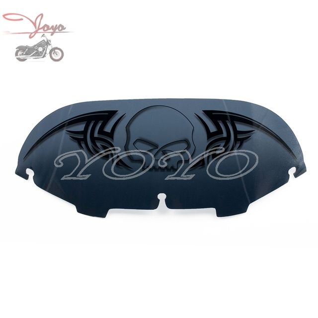 "Personalizado Crânio Preto Windscreen 6.5 ""Windshield Fumo para Harley Touring Electra Glide Rua FLHT & Trike 1996-2013"
