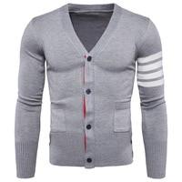 2018 new spring autumn sweater collar cardigan Mens V Neck Mens sweater coat