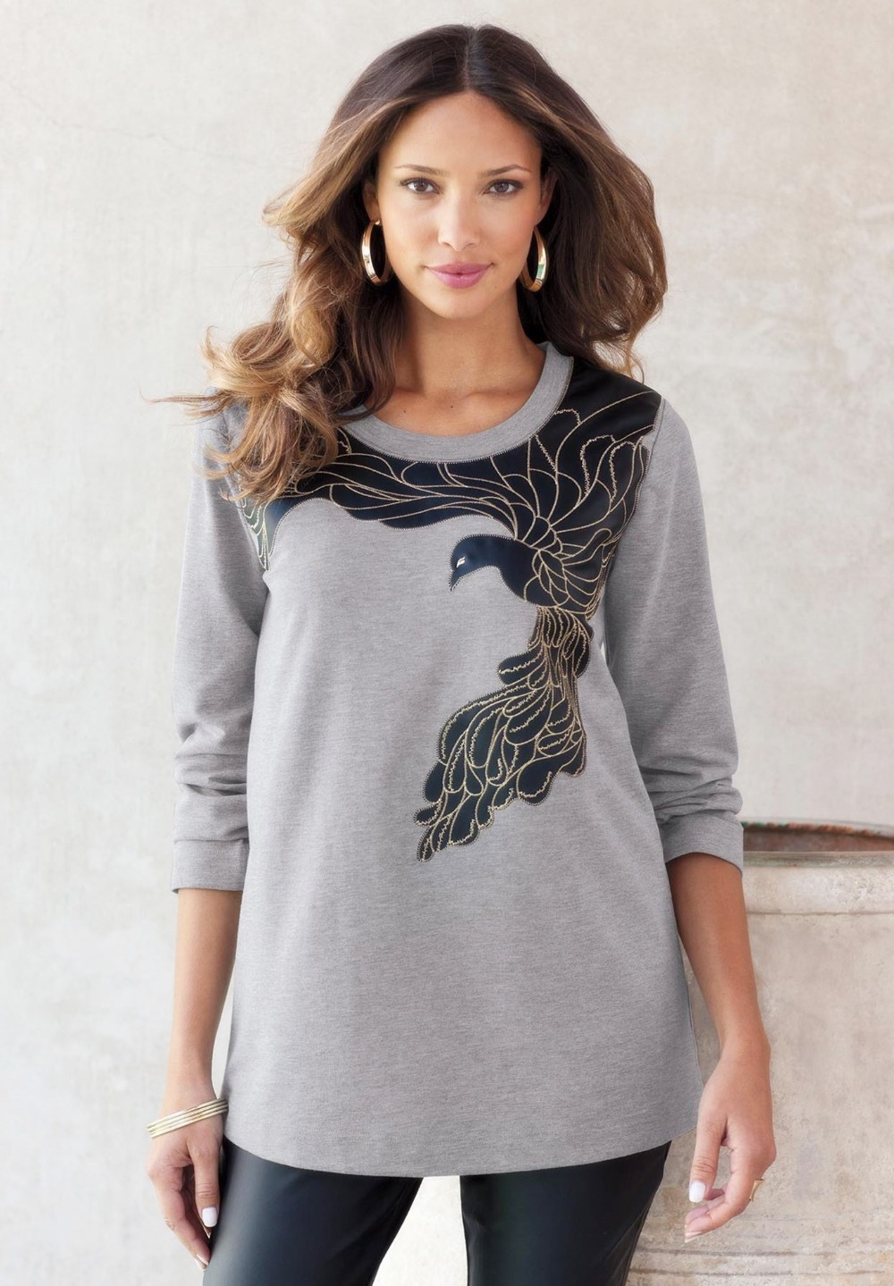 L 10XL Novelty Large Size Bird Applique Sweatshirt Jumper ...