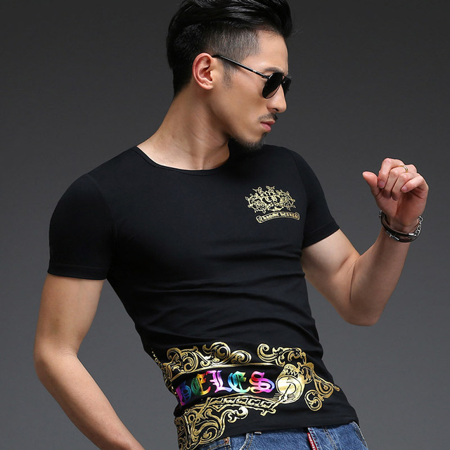 39321b5e2 T Shirt Men Luxury Black White with Gold Print Luxury Party Club T-Shirt Men  Cotton Lycra Tight Fit Fashion Men Tshirt Homme 5XL