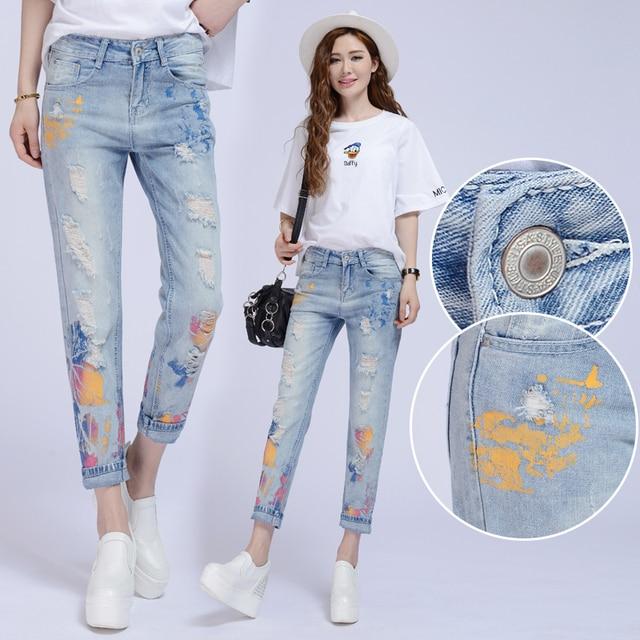 plus size denim jeans pants women spring autumn 2016 bermuda feminina fashion hole jeans haroun pants loose female A0939