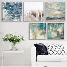 Зеленый пейзаж абстрактная стена искусство Стиль постер и принт современная картина холст плакат гостиная спальня домашний декор искусство печать