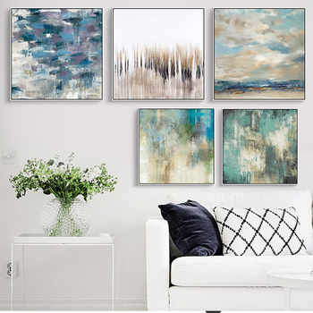 Nordic Abstract Canvases Oil Painting Green Water Landscape Picture No Frame Poster Home Decor for Living Room