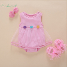 baby girl clothes 1st birthday baby bodysuit dress solid color sleeveless summer lace Tulle Ruffles girls clothes 0 3 6 9 months(China)