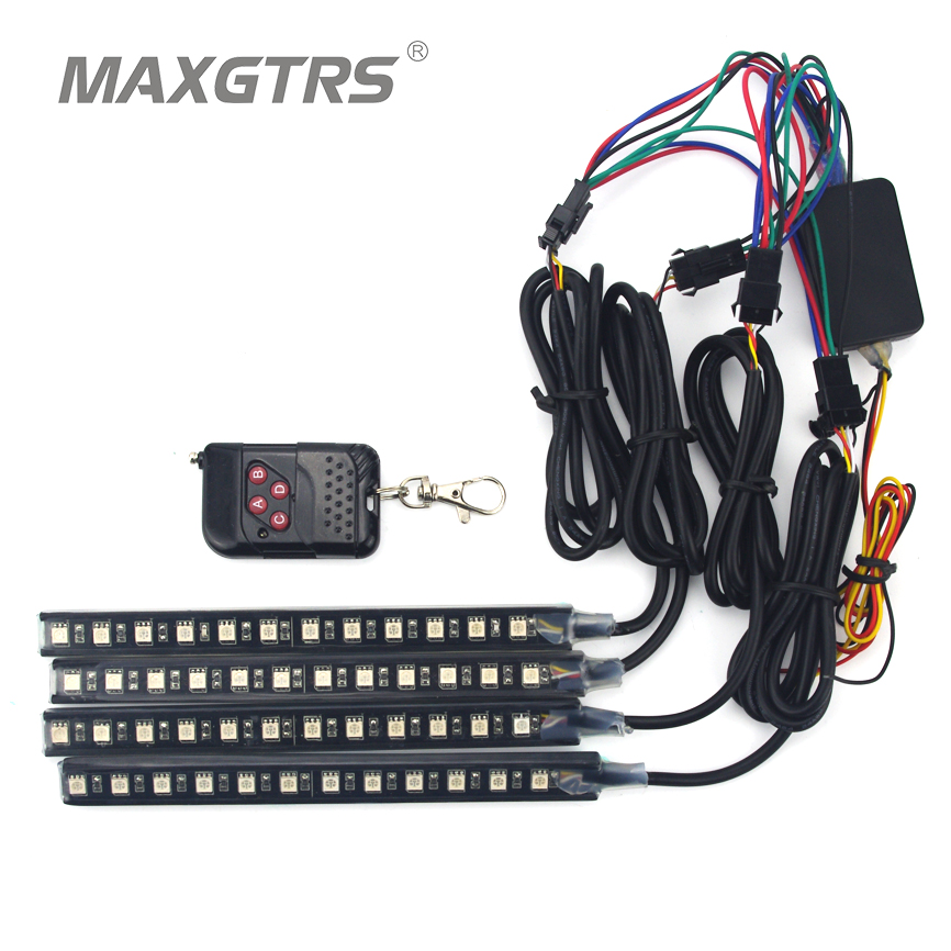 4x 7 Color 12 LED Flash Car LED Knight Rider Strobe Flicker Light Strip Kit With Remote Control Waterproof Flexible Neon Lights