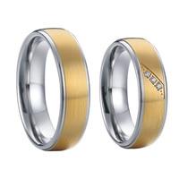 Мужские и женские цвет золотистый альянсов titanium стали ювелирные изделия обручальное кольцо кольца
