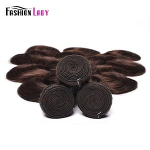 Image 5 - Moda bayan ön renkli perulu saç vücut dalga demetleri 100% insan saç örgüleri 2 # demetleri koyu kahverengi saç 3 paketler olmayan remy