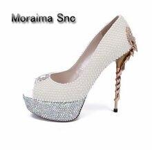 2b9d9ba90b3550 Moraima Snc Newest High Quality Women Shoes Cheap Price Luxury Peep toe  White Pearl Scorpion Heel Pump Wedding Party Dress 2018