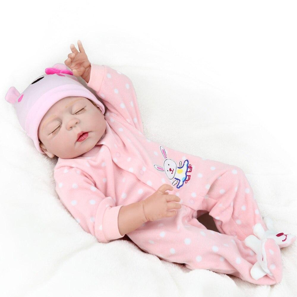 Reborn Bébé Poupée de Couchage Fille Enfants Playmate Peu Belle NPKDOLL 22 pouce Plein vinyle de bain bebe boneca d'eau Mohair Nouveau-Né