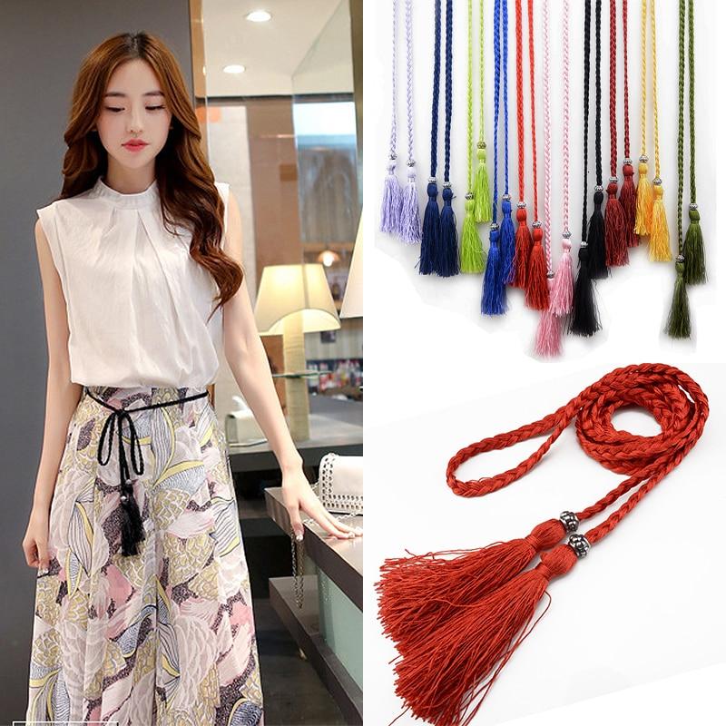 Waist Chain 160cm Woven Tassel Waistband Braided Belt Hot Sale Waist Rope Women Decorated Waist Ladies Tassles Belts 1PC