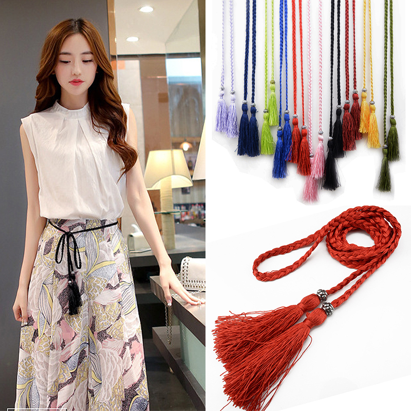 Waist chain 160cm Woven Tassel Waistband Braided   Belt   Hot Sale waist rope Women decorated waist Ladies Tassles   Belts   1PC