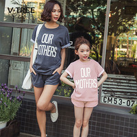 V TREE Mother And Daughter Clothes Summer Clothing Sets For Family Cotton Family Matching Outfits Mom