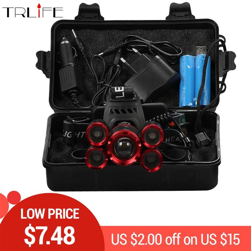 60000 Lumens 5*T6 LED Headlight ZOOM Flashlight Torch Camping Fishing Headlamp lantern Use 2*18650 battery /AC/Car/Usb/ charging