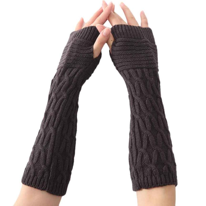 Men's Gloves Women Fashion Knitted Arm Sleeve Fingerless Winter Gloves Soft Warm Mittens Gloves Without Fingers Moto Guante Mujer Gants Femme