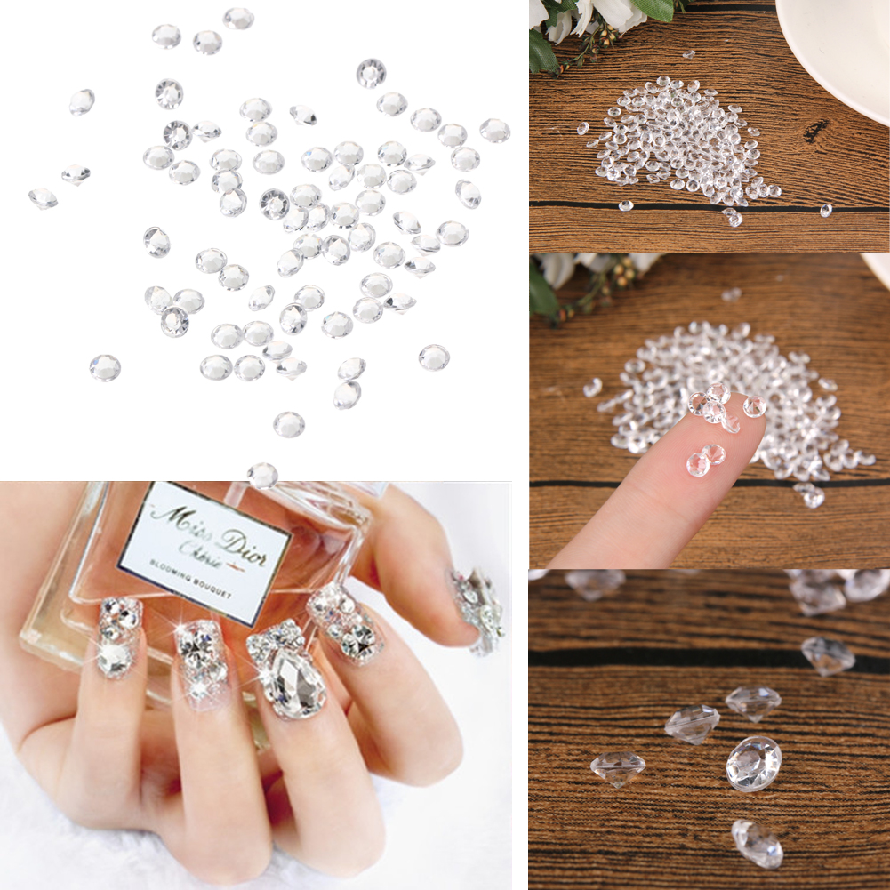 ①1000pc 3D Crystal Diamond Nail Art Tips Wedding Table Party Decor ...