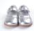 Zapatos de las muchachas de cuero de plata mary jane zapatos del niño suaves recortes de flores para la primavera verano otoño para la boda little flower kids