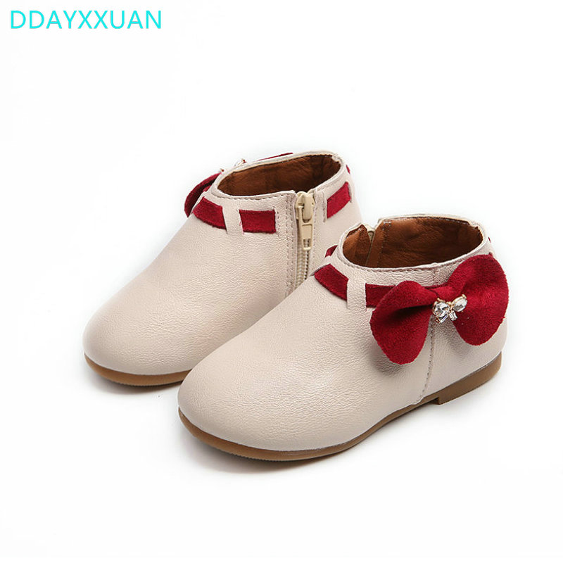Girls Fashion boots Bowknot 2018 New Brand children fashion Autumn style shoes for girls PU leather boots waterproof Snow boots