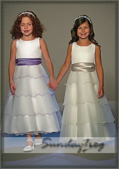 Free Shipping A-Line Ruffle Flower Girl Dress Ankle-length Organza Sash Ruffle First Communion Dress Party Dress-FL072