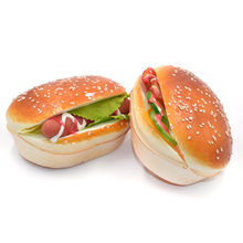 Slow Rising Soft Hamburgers Fridge Magnet Stickers Whiteboard Magnets Squishy Bread Artificial Fake Cake Kid Toy(China)