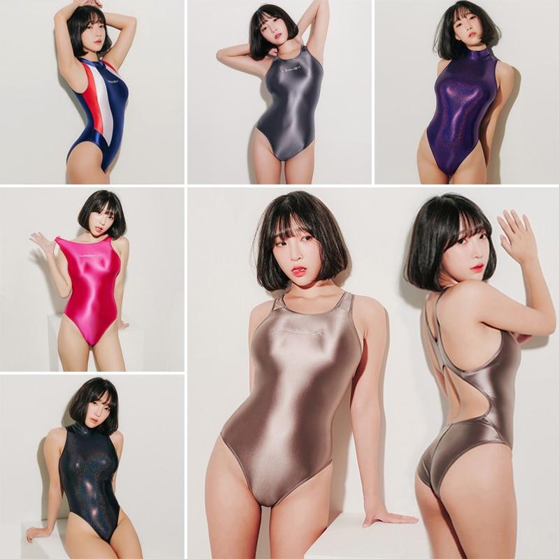 LEOHEX 2019 Sexy Satin Glossy Body Suit High Cut One Piece Swimwear Women Glitter Bodysuit Shiny