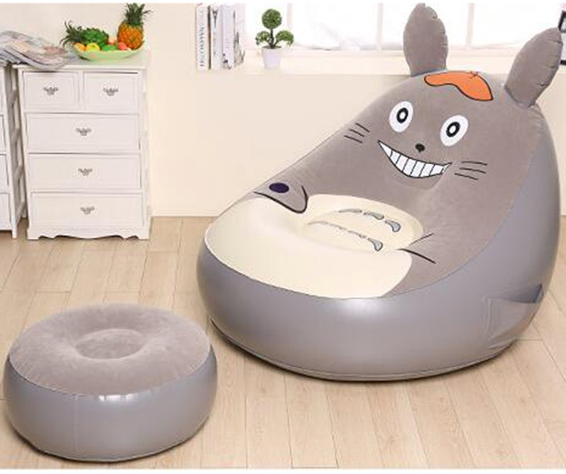 Inflatable Deluxe Air Lounge Sofas Lounger Chair w/ Ottoman Sofa Gaming Chairs Seat Bean Bag soft bean bag chair inflatable office lounge chair purple pink green living room bean bag sofa chair inflatable lounge chair